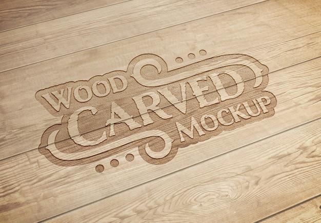 Maquete de efeito de texto de madeira esculpida