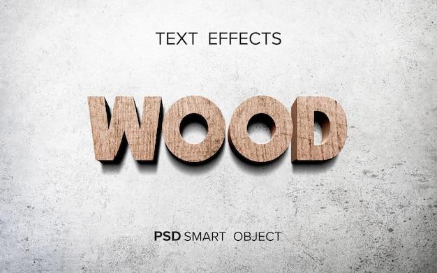 Maquete de efeito de texto de madeira