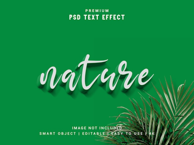 Maquete de efeito de texto de natureza.