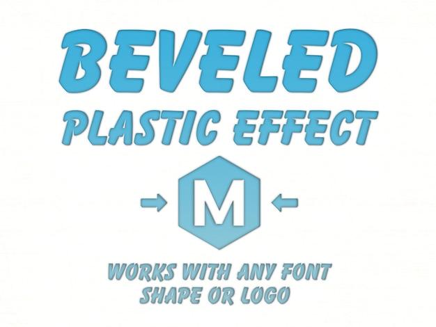 Maquete de efeito de texto de plástico chanfrada