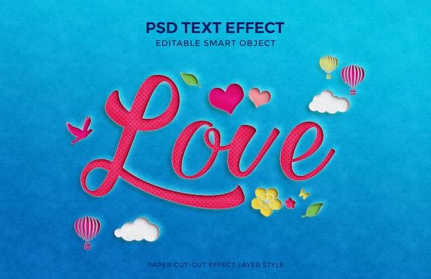 Maquete de efeito de texto de recorte de papel lindo amor com vários elementos.