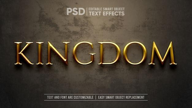 Maquete de efeito de texto dramático do reino medieval de ouro