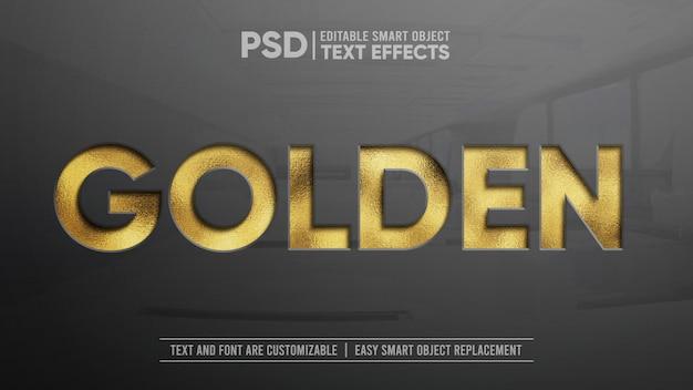 Maquete de efeito de texto editável de imprensa dourada brilhante