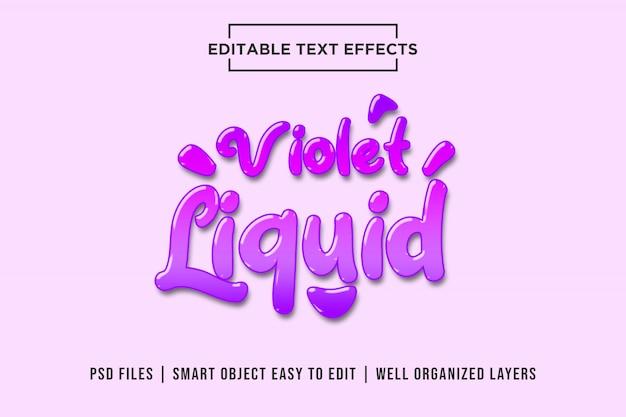 Maquete de efeito de texto editável líquido violeta