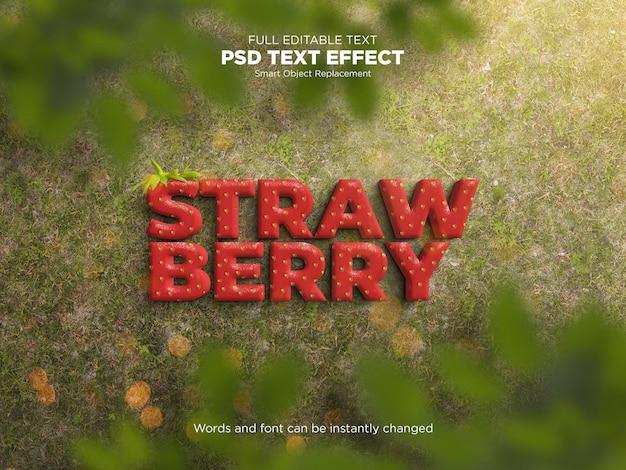 Maquete de efeito de texto editável morango
