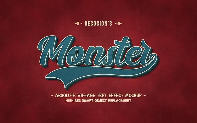 Maquete de efeito de texto monstro vintage