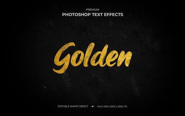 Maquete de efeito de texto pincel dourado