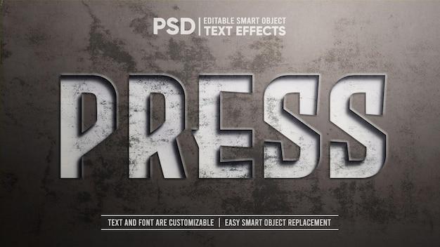 Maquete de efeito de texto pressionado de placa de metal sujo