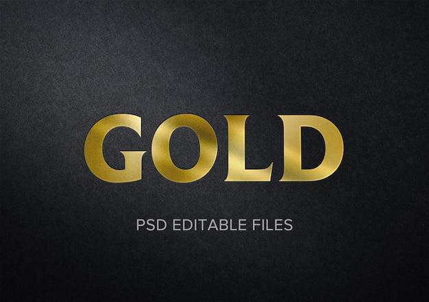 Maquete de efeito de texto realista de ouro