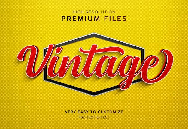 Maquete de efeito de texto vermelho amarelo 3d de tira vintage