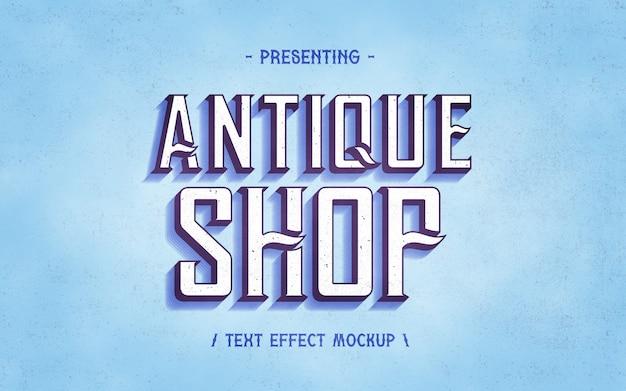 Maquete de efeito de texto vintage de loja de antiguidades