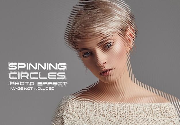Maquete de efeito fotográfico de círculos giratórios
