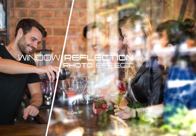 Maquete de efeito fotográfico para reflexão de vidro