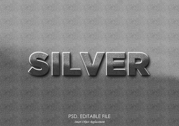 Maquete de efeito texto prata