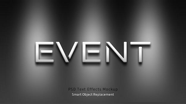 Maquete de efeitos de texto em 3d de evento