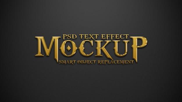 Maquete de efeitos de texto em ouro e preto