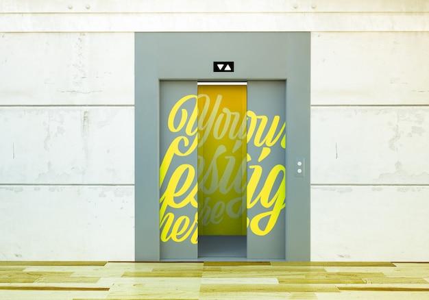 Maquete de elevador com renderização em 3d abrindo portas