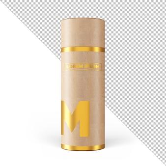 Maquete de embalagem com efeito dourado de tubo de papel artesanal