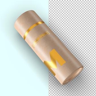 Maquete de embalagem com efeito dourado de tubo de papel artesanal Psd Premium