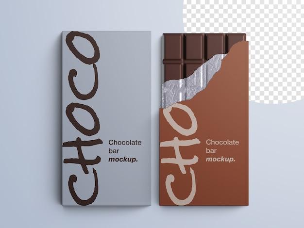 Maquete de embalagem de barra de chocolate isolada