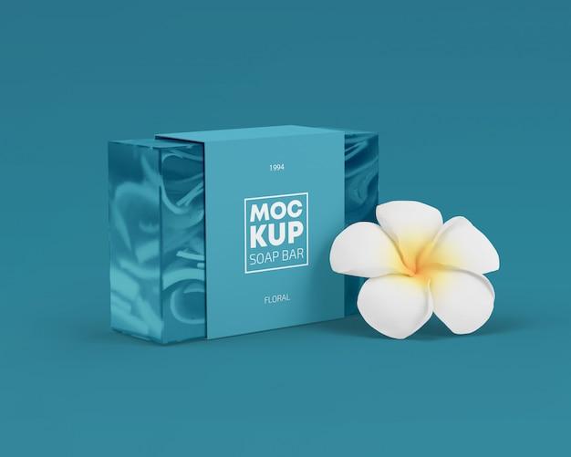 Maquete de embalagem de barra de sabão com flor