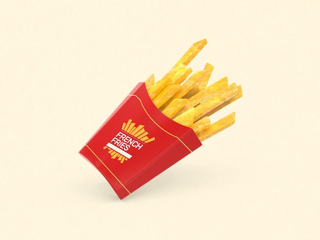 Maquete de embalagem de batata frita