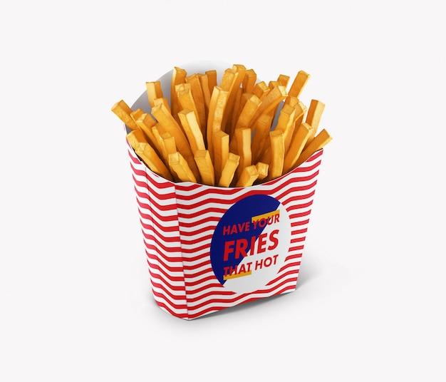 Maquete de embalagem de batatas fritas