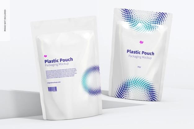 Maquete de embalagem de bolsas de plástico, vista frontal