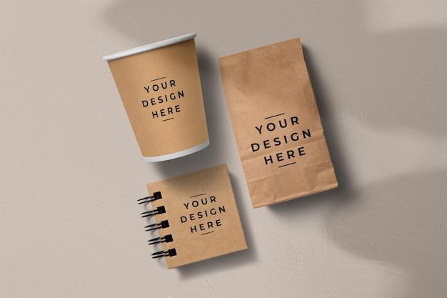 Maquete de embalagem de café em papel