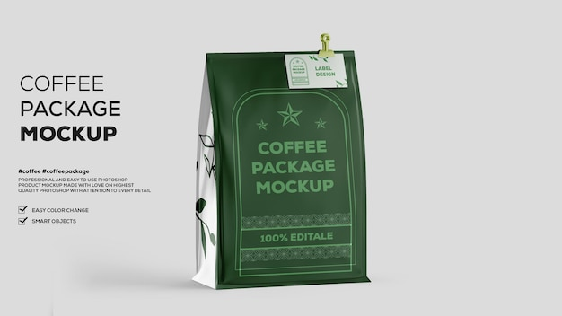 Maquete de embalagem de café fosco