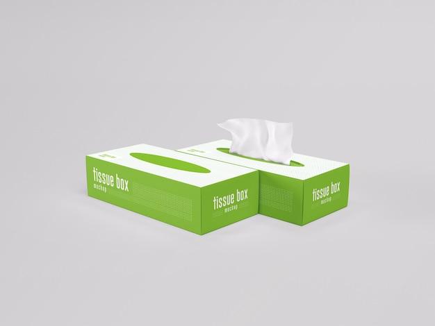 Maquete de embalagem de caixa de lenço de papel facial