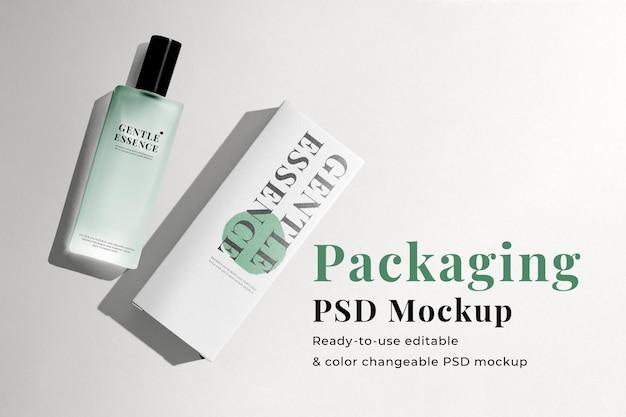 Maquete de embalagem de caixa de perfume psd para produtos de beleza em design minimalista