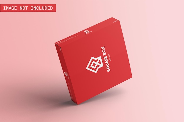 Maquete de embalagem de caixa quadrada flutuante