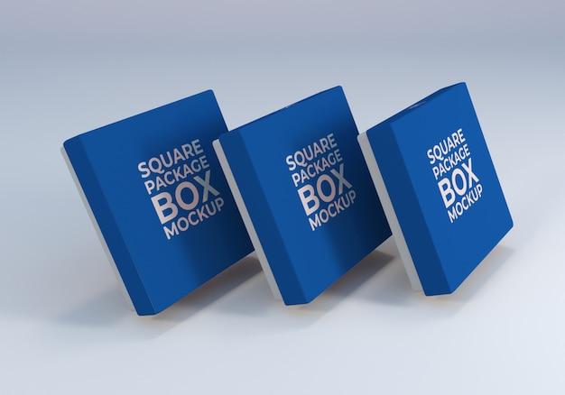 Maquete de embalagem de caixa quadrada realista para ilustração do produto