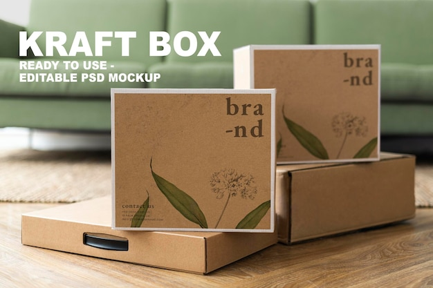 Maquete de embalagem de caixas kraft psd para entrega de marcas orgânicas com espaço de design
