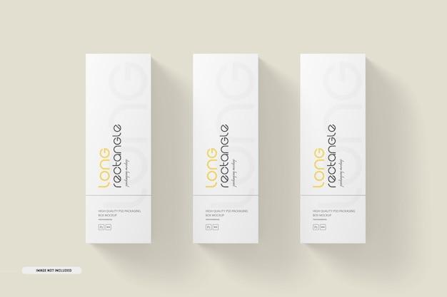 Maquete de embalagem de caixas retangulares longas