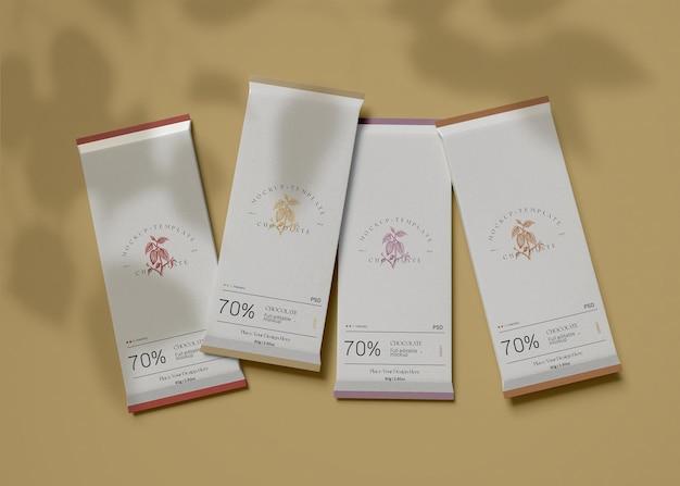 Maquete de embalagem de chocolate
