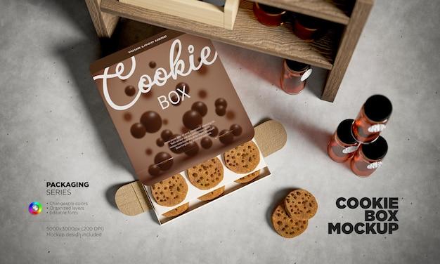 Maquete de embalagem de cookies de vista superior