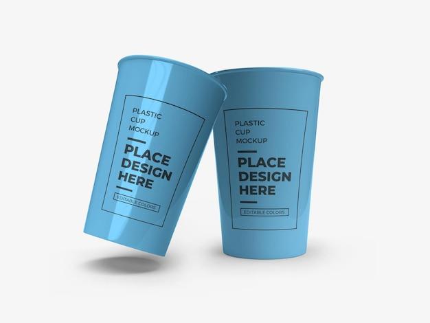 Maquete de embalagem de copo de plástico