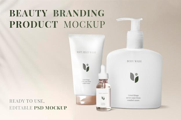 Maquete de embalagem de cosméticos, conjunto de presente psd de produto de beleza