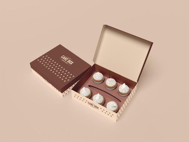 Maquete de embalagem de cupcake delicioso