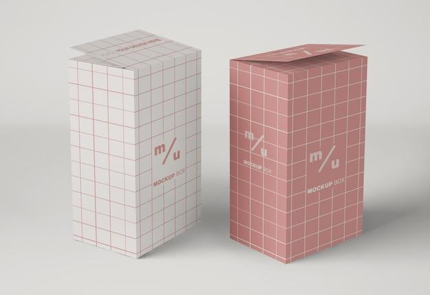 Maquete de embalagem de duas caixas altas
