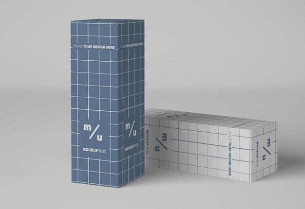 Maquete de embalagem de duas caixas