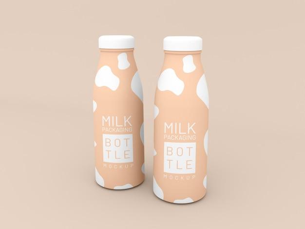 Maquete de embalagem de duas garrafas de leite