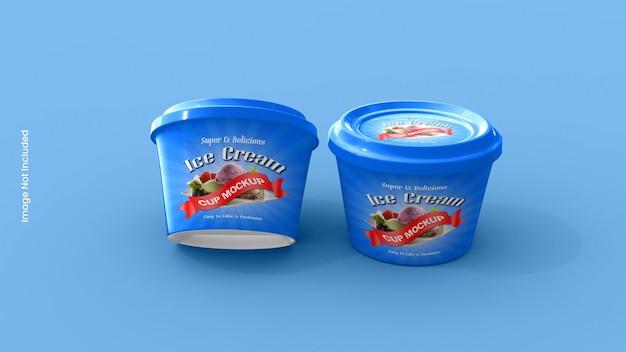 Maquete de embalagem de frasco de sorvete ou xícara
