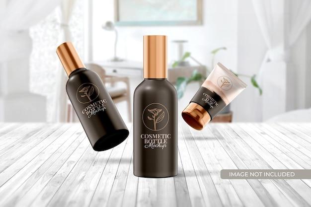 Maquete de embalagem de frasco e tubo cosmético
