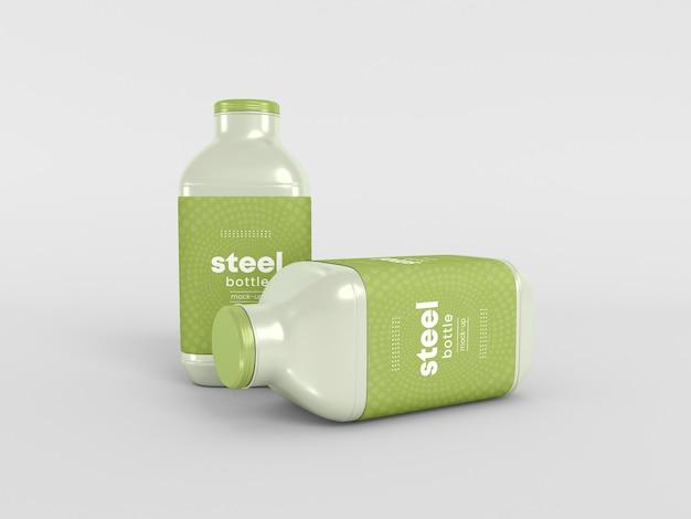 Maquete de embalagem de garrafa de aço