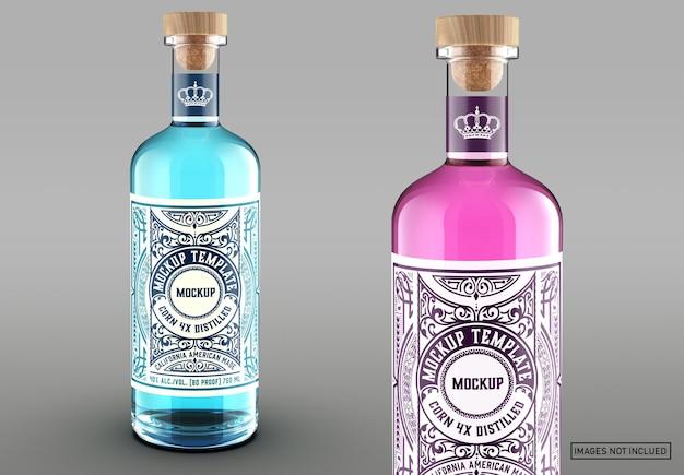 Maquete de embalagem de garrafa de gim colorido