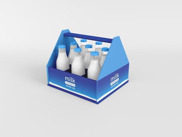 Maquete de embalagem de garrafa de leite