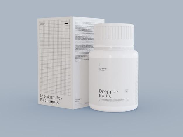 Maquete de embalagem de garrafa e caixa de comprimidos